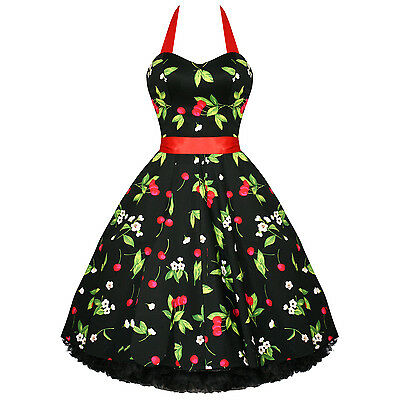 H & R LONDON dress BLACK RED Cherry 50s vtg Vintage style Punk pinup retro 0516