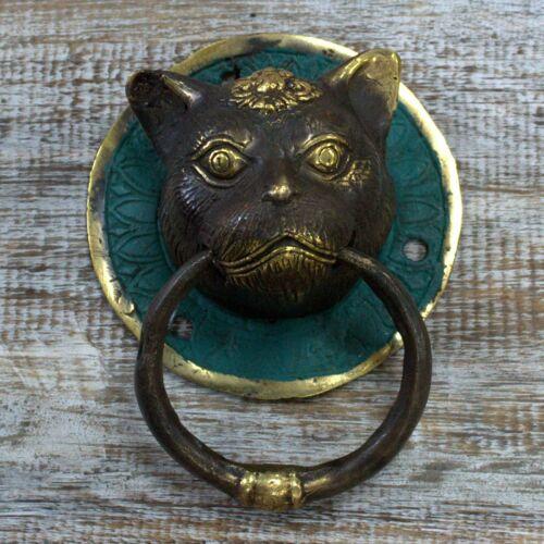 Antiguo Vintage Latón Aldaba De Puerta Frontal Cabeza de Gato Tigre Animal Caballo