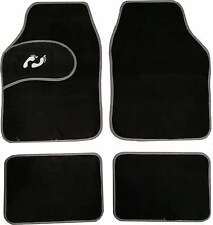 Universal Non-slip Carpet Foot Print Floor Well Car Mats Black&Grey Boarder 4pc