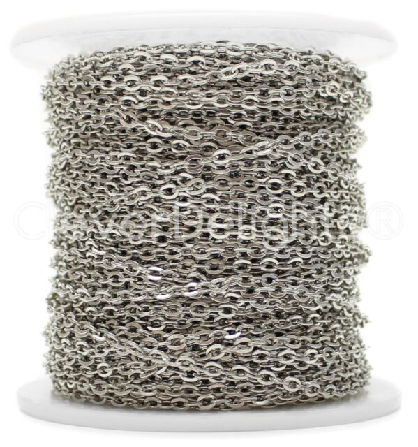 - 2x3mm Link 10 Yd Rolo Antique Silver Cable Chain Spool Platinum 30 Feet