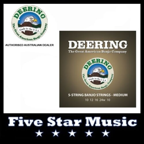 1 of 1 - DEERING 5 String Banjo Set Medium Gauge NEW 10-24 Strings Made in USA
