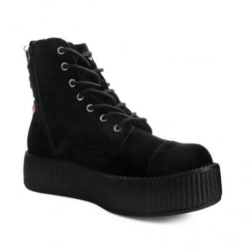 T Embroidered Vegan Ladies Combat Av9320l Sneaker k Black 3d Rose Suede Boot u rwqIPr