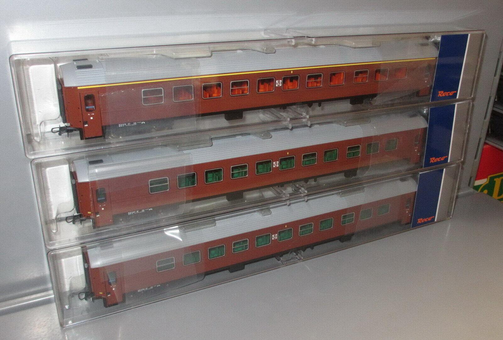 Roco H0 74512 - 74514 _ 3x SJ Personenwagen Reisezugwagen A7 B7 Ep IV _NEU