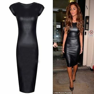 WOMENS NICOLE BLACK BODYCON  LADIES CAP SLEEVE STRETCH PVC WET LOOK MIDI DRESS