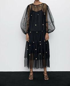 ELEGANT-DRESS-NEW-LONG-POLKA-DOT-TULLE-DRESS-RUFFLED-HEM-BLACK-S-M-L