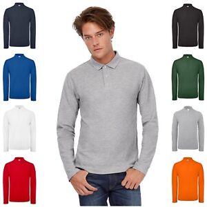 Mens-Long-Sleeve-Polo-Shirt-Top-Collar-Ringspun-Cotton-Pique-XS-4XL