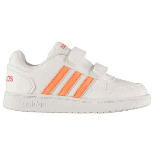 adidas Kids Girls Hoops Syn Infant Trainers Low Strap Tonal Stitching