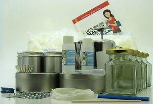 Soya-wax-candle-making-kit-Jug-thermometer-Makes-20-tin-glass-candles