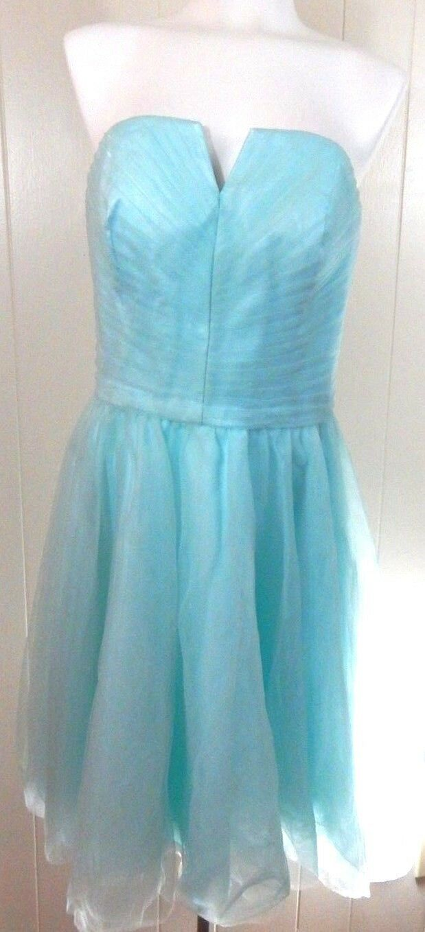 Mori Lee Woherren 14 Dress Strapless Notch Neck Pleated Tulle Aqua Prom EUC