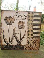 Blechschild Bild 30 x 30 Schild nostalgie Shabby Vintage lilie Tulpe Family