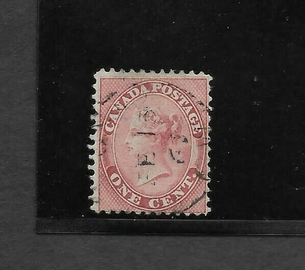 Canada Scott #14 used 1c rose 1859 Queen Victoria lightly canceled f/vf sound