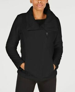 Ideology-Womens-Asymmetrical-Zip-Fleece-Jacket-Noir