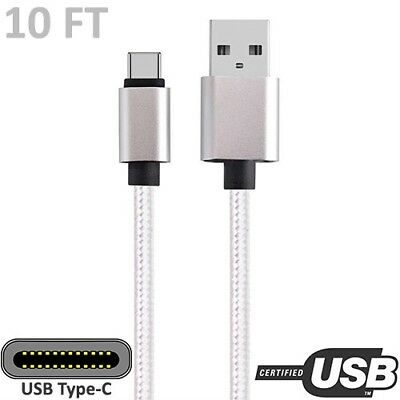 10ft White USB A 2.0 to Micro-B Charge Sync Data Cable PC Notebook Smartphone