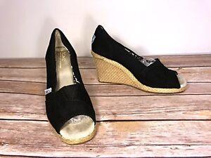 1bfc45d38a3 Details about Toms Peep Toe Wedges Black Canvas Shoes Espadrilles Size 5