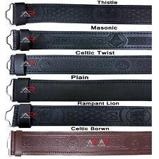 Leather Belts Kilt Scottish Highland Black Brown Embossed Without Buckle New AAR