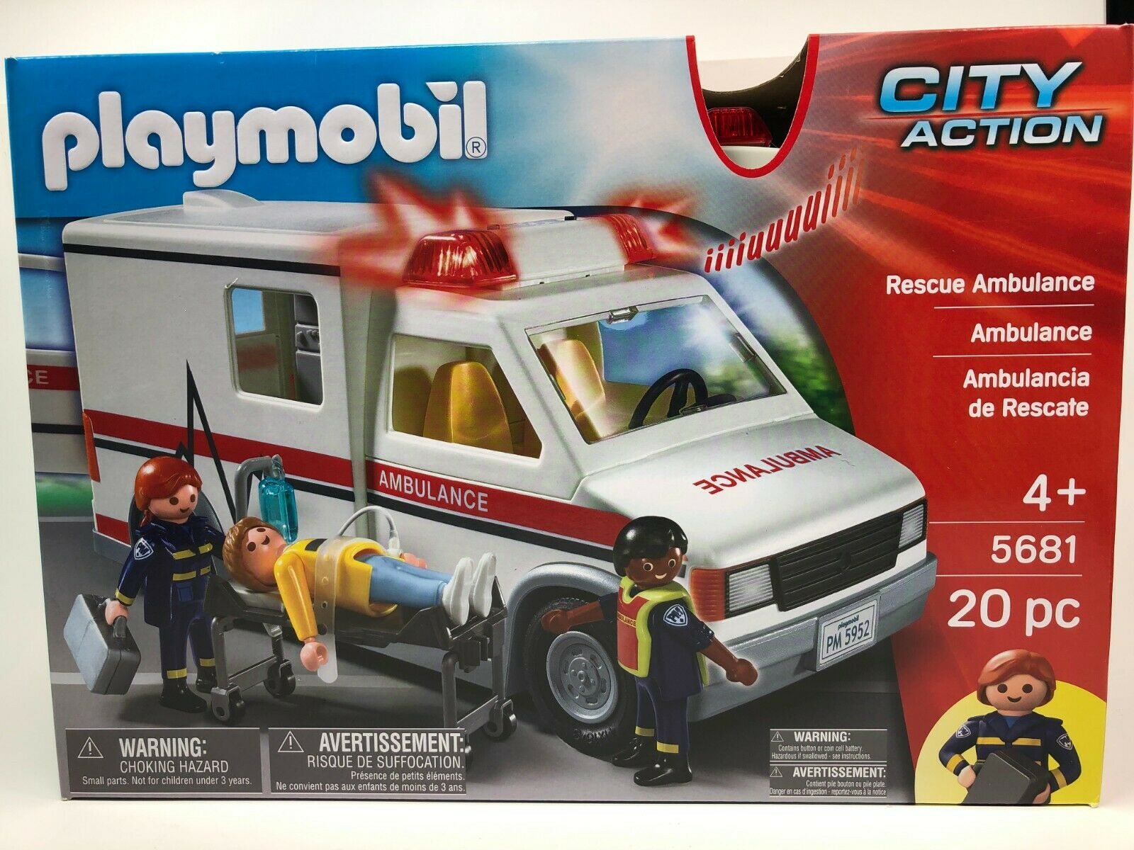 Playmobil City Action Rescue Ambulance - 5681 - 20 pc NEW in Sealed Box