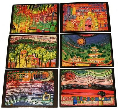 6 Bilder Hundertwasser Kunstdrucke mit Folienprägung  -- SALE --