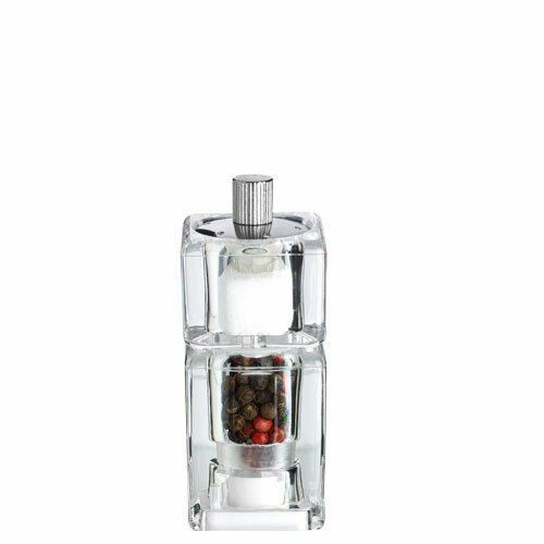 Pepper Mill With Salt Shaker, Clear 3.6x3.6x9.5cm VEGA Alma Series