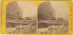 Suisse Vallée Da Lauterbrunnen Foto Stereo Vintage Albumina Ca 1865