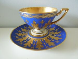 Dresden-Cup-Saucer-Footed-Hutschenreuther-Royal-Blue-Gold-Fancy-Raised-Acantus