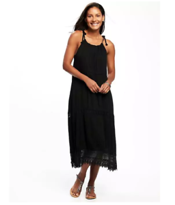 35c79fe691849 Details about OLD NAVY WOMEN'S 773101 BLACK CROCHET LACE SWING MIDI DRESS  NWTS XL