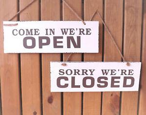blanco-y-marron-Colgante-Placa-de-Madera-Reversible-Open-Closed-Letrero
