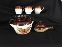 Vintage McCoy Pottery Spirit of 76 Stoneware Bean,soup crock & bean mugs
