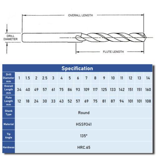 10Pc Twist Drill Bits HSS M2 Hardened Jobber For Wood Plastic Metal Drilling US