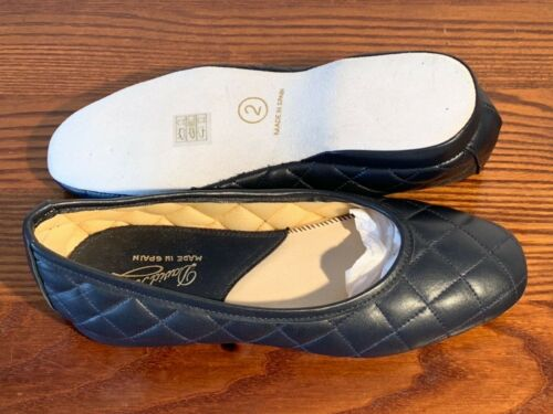 David Roberts Andrea Quilted Leather Ladies Full Slippers Sizes 2 /& 3 Navy//Gold