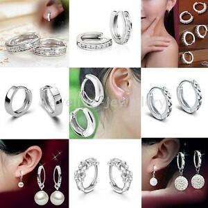 Fashion-Women-Jewelry-925-Sterling-Silver-Shiny-CZ-Crystal-Pearl-Hoop-Earrings
