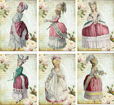 Vintage inspired Marie Antoinette pink gowns cards tag ATC altered art set of 6