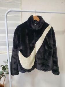 Nike NSW Women's Faux Fur Jacket BLACK FOSSIL BNWT IN HAND CU6558-010 SMALL  | eBay