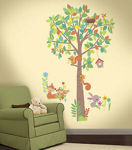Image Is Loading Woodland Creatures Tree Giant Wall Decals Forest Animals