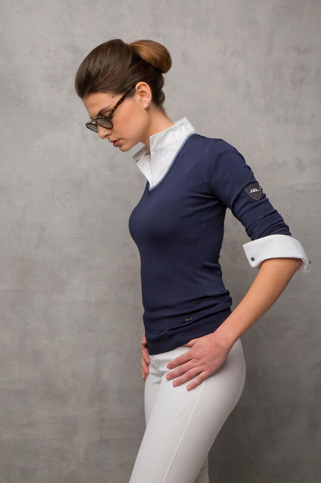 cavalloware AA Platinum Collection Donna classeico Lavorato a Maglia vneck Sweater Navy XSXXL