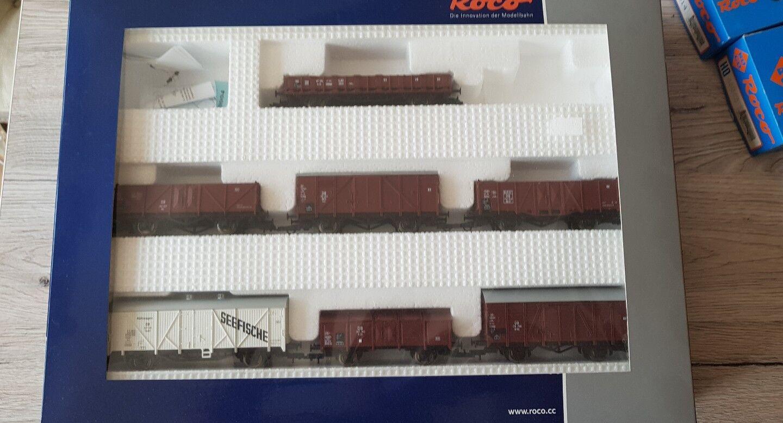 Roco 10 x vagones 44002 46266 46014 46042 colección abierta marrón rojo set OVP