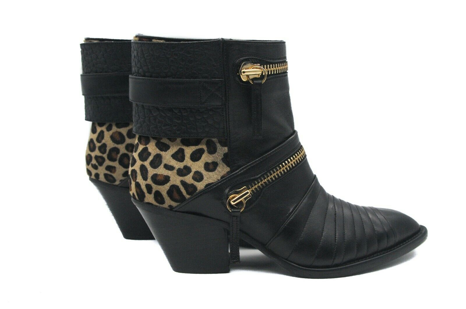 Goody2shoes Ladies' Black Black Black Leather and Leopard Print Ankle Boots with gold Zips 785b06