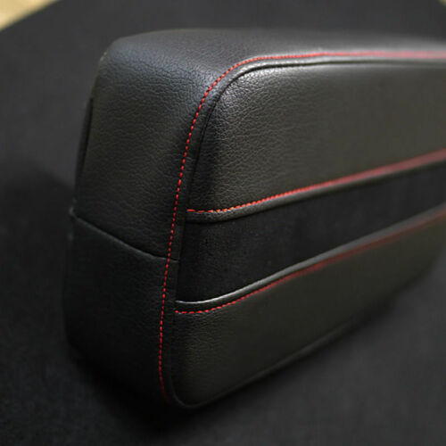 Sports Front Center Console Line Armrest Cushion Suede Black Accessory For AUDI