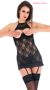 SEXY Abito Vestito black Traslucido Seno Scoperto+Reggicalze Lingerie Intimo