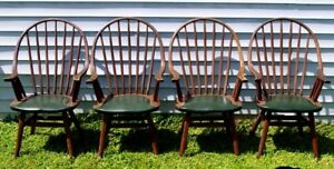 4-Vintage-Hunt-Country-Furniture-NY-Set-of-4-Hoop-Back-Windsor-Dining-Armchairs