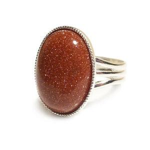 Goldstone-Gemstone-Ring-Semi-Precious-Gold-Oval-Adjustable-18-x-13-mm-Silver