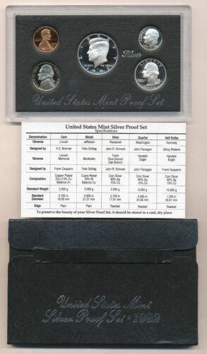 1992 S U.S Mint SILVER Proof Set 5-Coin Set in OGP Box w// COA