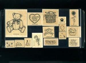 Stampin-039-Up-Button-Bear-15-rubber-stamp-set-birthday-honey-bees-flowers-1994