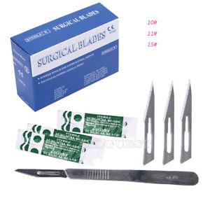 Bisturi-Cuchillas-esteril-quirurgica-dental-100-un-Carabina-Acero-10-11-15-mango