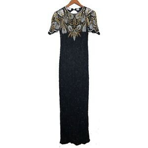Vintage-Laurence-Kazar-Beaded-Dress-Long-Evening-Gown-Black-Gold-Size-Medium