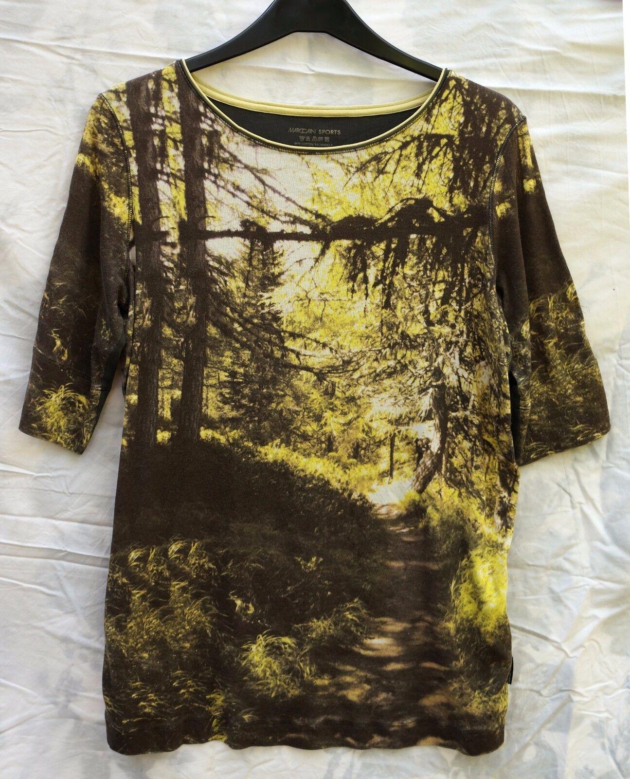 Shirt  taupe gelb  MARC CAIN SPORTS Wald Bäume Gr. M wie neu