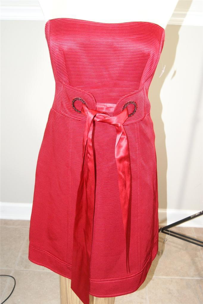 NANETTE LEPORE STUNNING RED SATIN BOW STRAPLESS EVENING DRESS SIZE 6  (DR100)