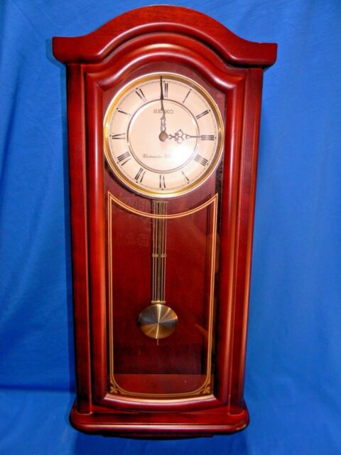 Elegant Seiko Mahogany Red Chime Pendulum Wall Clock Works