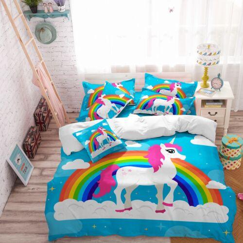Rainbow 3D Unicorn Bedding Set Kids Duvet Cover Pillowcase Quilt//Comforter Cover