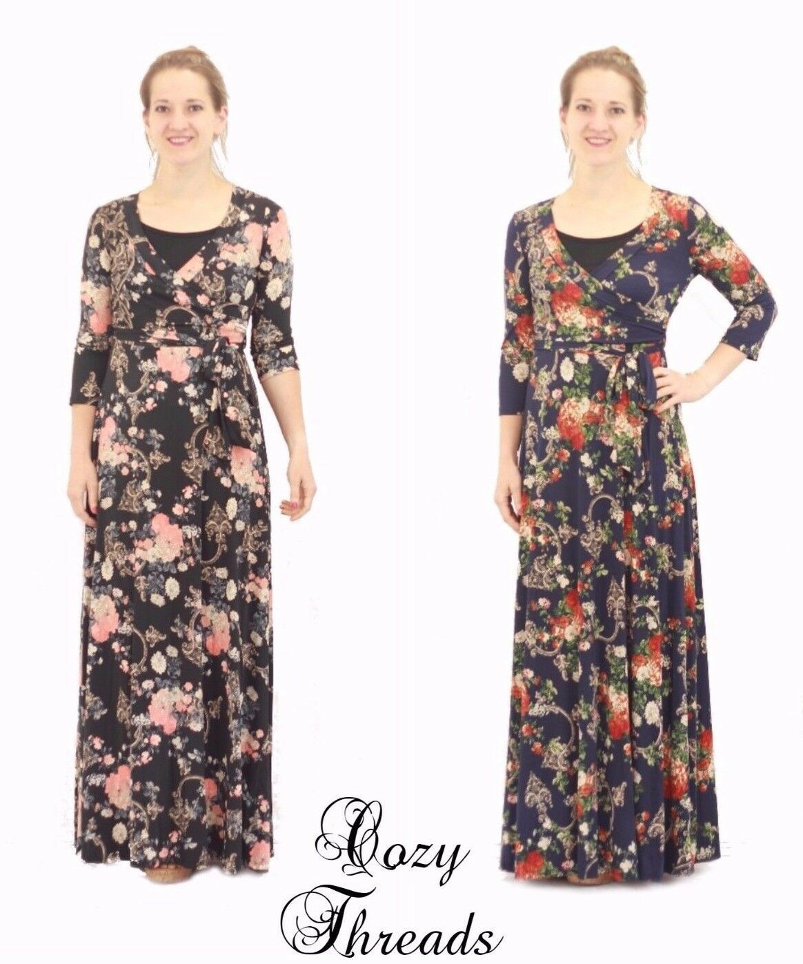 NEW Boutique Janette Fashion GENEVIEVE FLORAL MAXI Dress - 2 colors - Size S M L