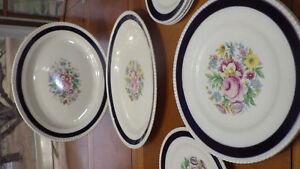 Vintage Fondeville Dinnerware Ambassador Ware England Cobalt Blue Band Floral C